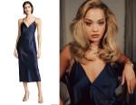 Rita Ora's Olivia von Halle Issa Silk Slip Dress
