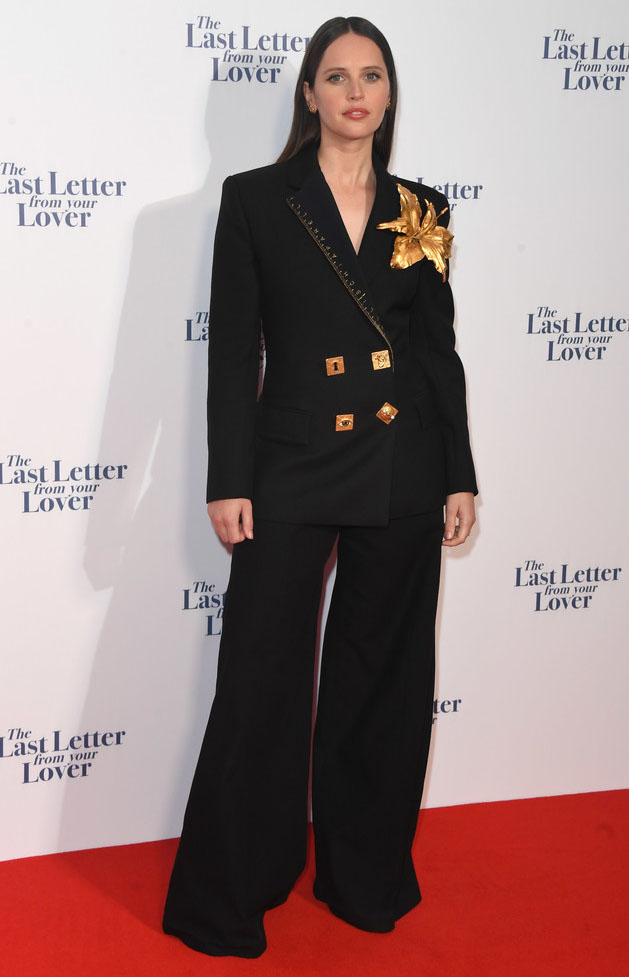 Felicity Jones Wore Schiaparelli To The 'The Last Letter From Your Lover' London Premiere