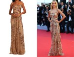 Frida Aasen's Elie Saab Embroidered Strapless Tulle Gown