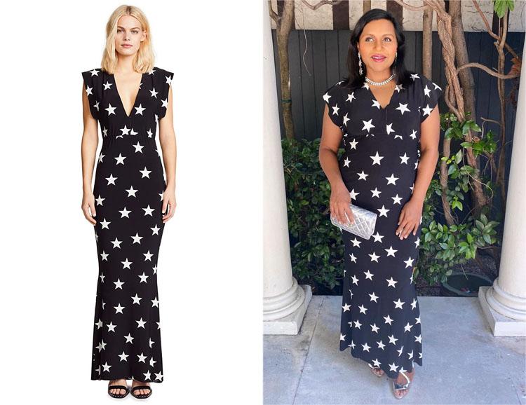 Mindy Kaling's Norma Kamali Star-Print  Maxi Dress