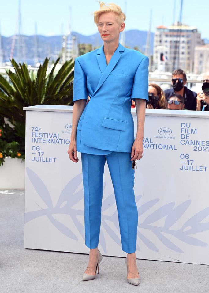 Tilda Swinton Wore Haider Ackermann To 'The French Dispatch' Cannes Film Festival Photocall