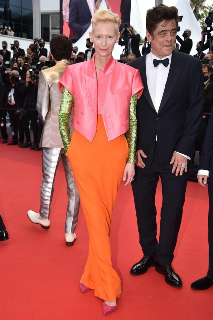 Tilda Swinton Wore Haider Ackermann To 'The French Dispatch' Cannes Film Festival Premiere