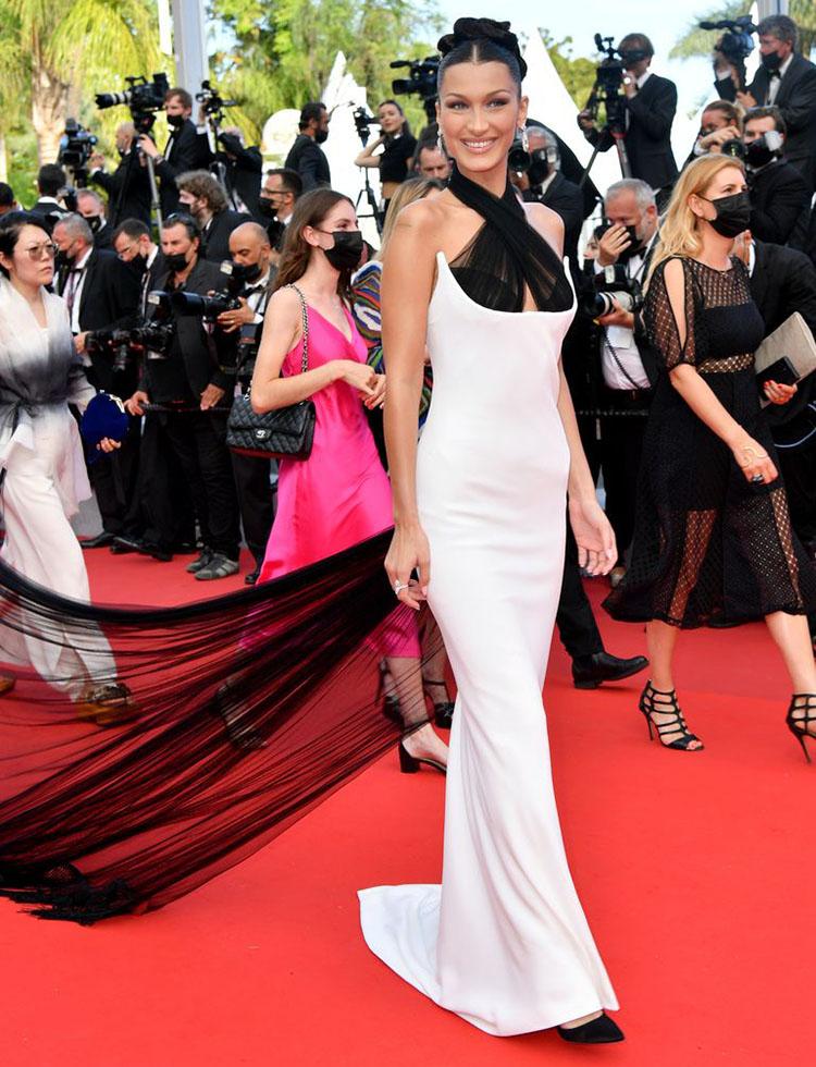 Bella Hadid Wore Jean Paul Gaultier Haute Couture To The 'Annette' Cannes Film Festival Premiere