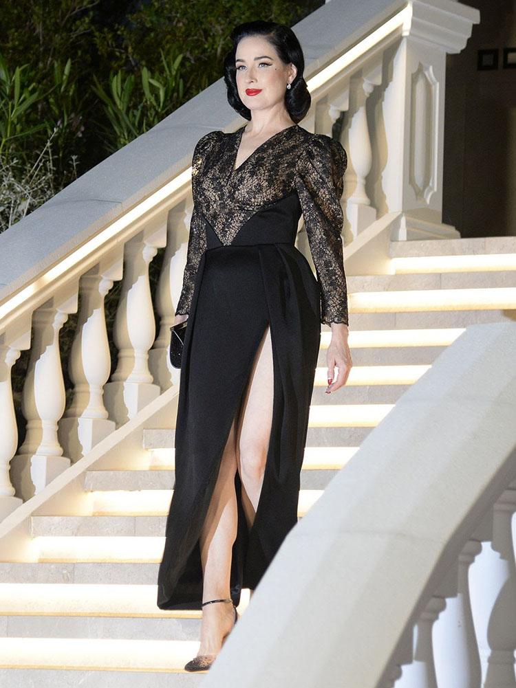 Dita von Teese Wore  Ulyana Sergeenko Demi-Couture To The Villa Remus Opening