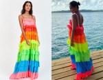 Frankie Bridge's PITUSA Rainbow Ruffle Tiered Dress