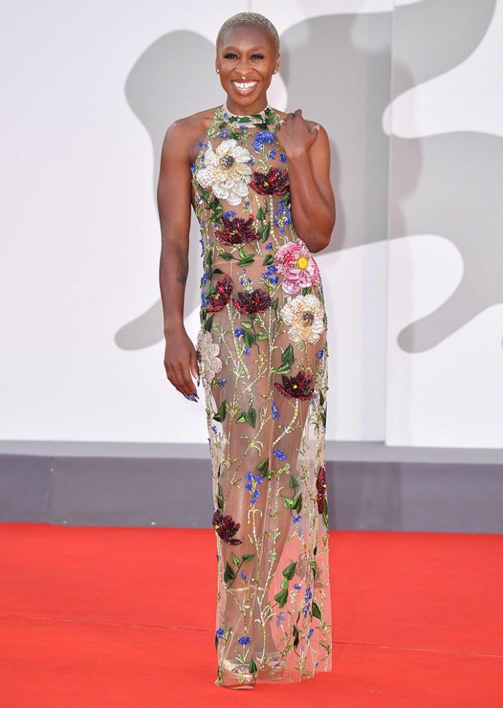 Cynthia Erivo Wore Oscar de la Renta To The 2021 Venice Film Festival Closing Ceremony