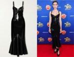 Lily Collins' Saint Laurent Black Latex Midi Dress + Latex Care Cleaning Kit