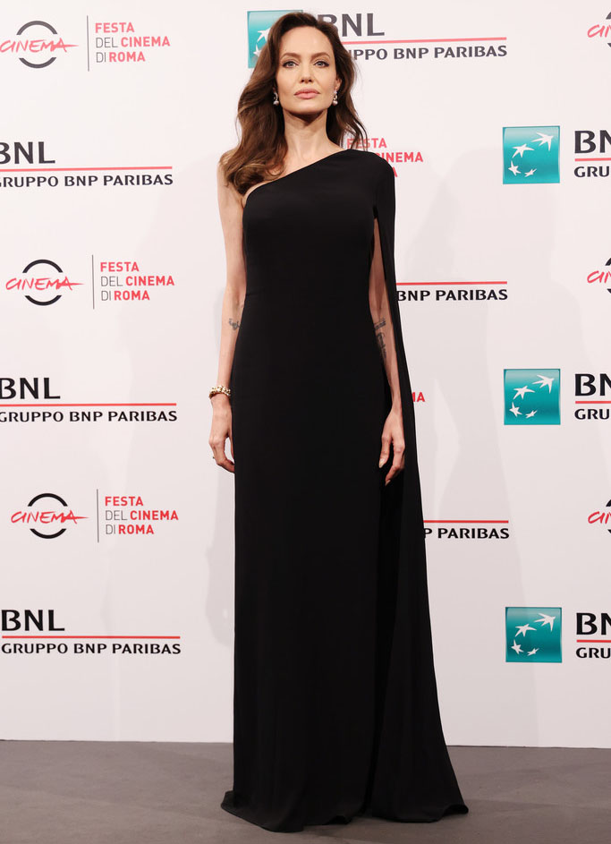 Angelina Jolie Wore Ralph Lauren Collection To The 'Eternals' Rome Film Festival Photocall