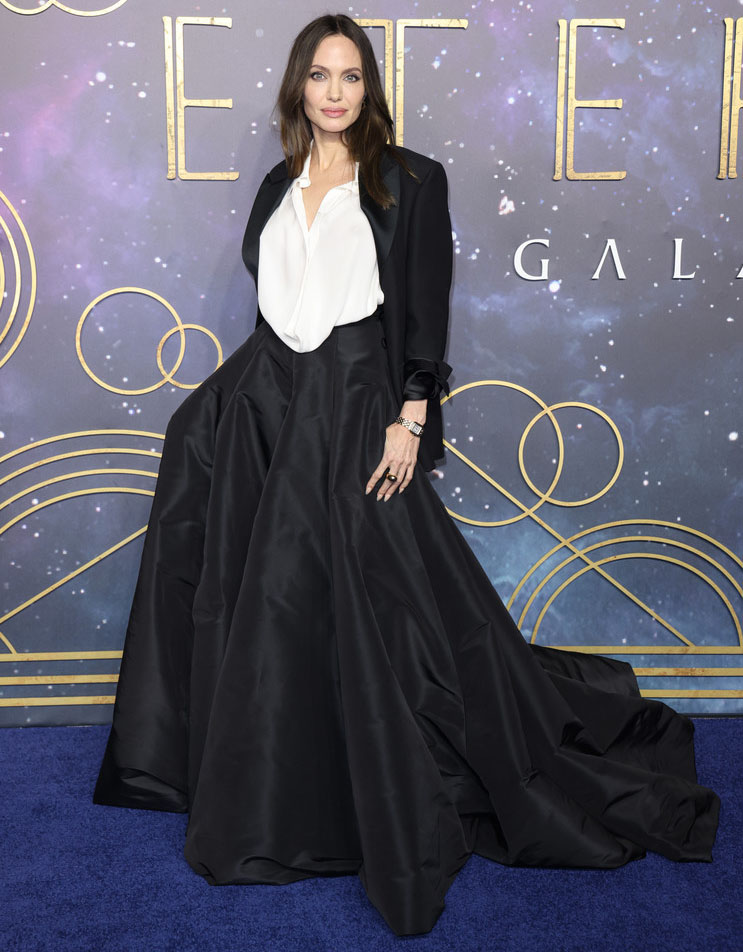 Angelina Jolie Wore Valentino Haute Couture To The 'Eternals' London Premiere
