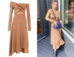 Debby Ryan's Fendi Off-Shoulder Ruched Mini Dress