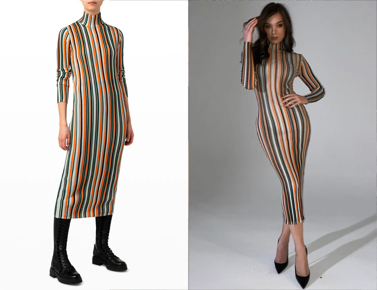 Hailee Steinfeld's Akris Midi Knit Tube Dress with Structured Stripes