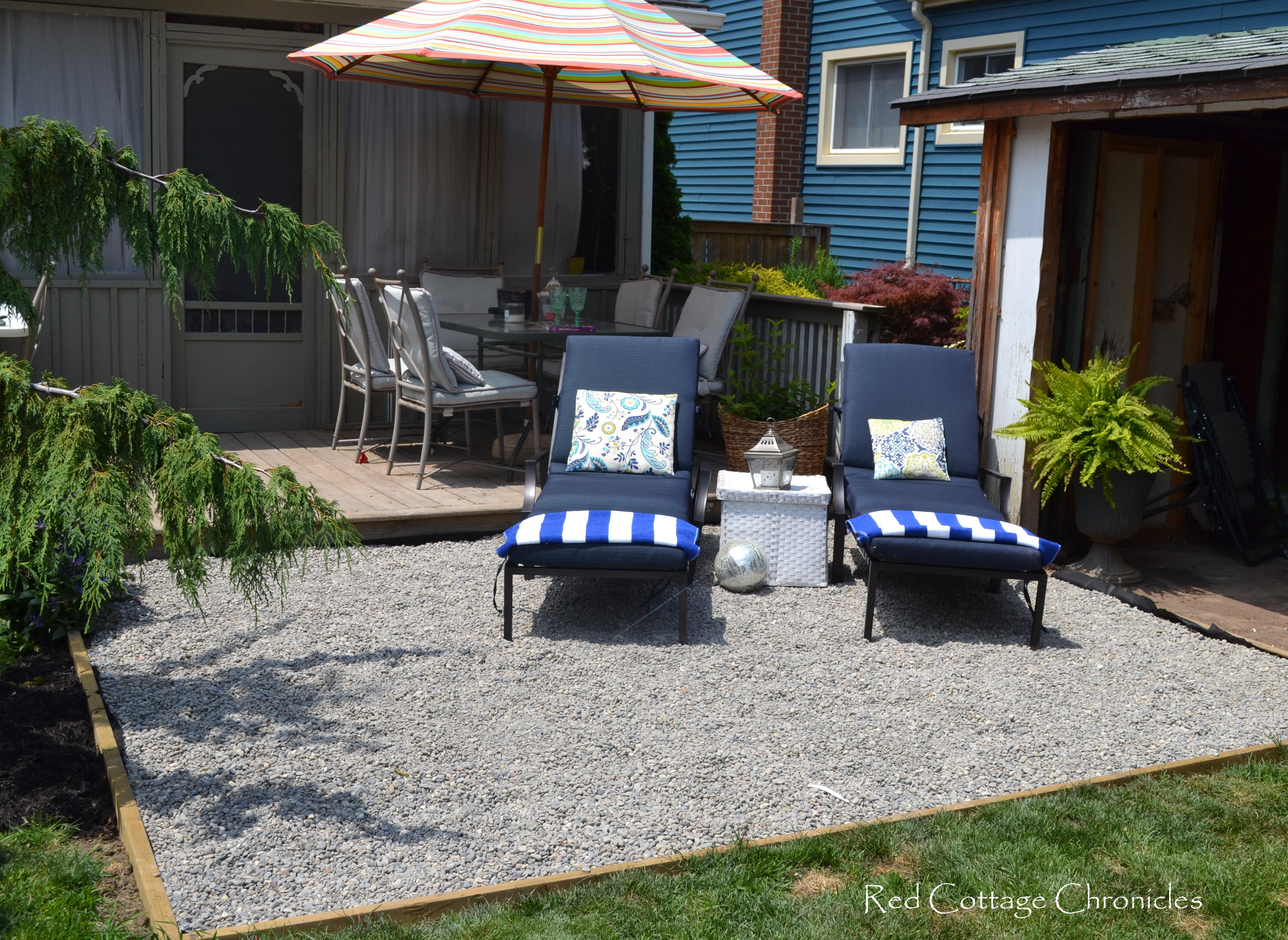 Backyard Makeover - Pea Gravel Patio - Red Cottage Chronicles on Backyard Patio Makeover id=78229