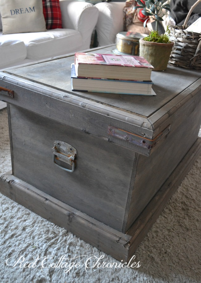 DIY Pottery Barn Inspired Storage Trunk Red Cottage Chronicles - Pottery barn trunk end table