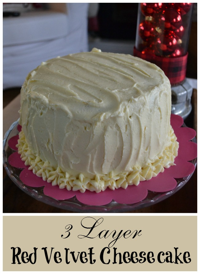 A layer of cheesecake layered in between red velvet cake made this milestone birthday a hit!
