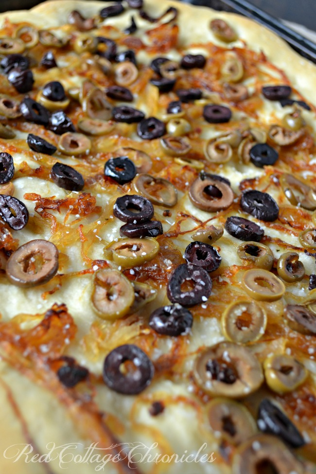 Caramelized Onion and Olive Focaccia Bread