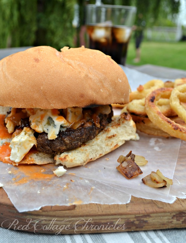 Buffalo Wing Burger with a mild buffalo wing sauce and crumbled blue cheese