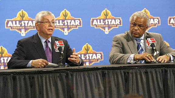 NBA Commissioner David Stern with NBA Players Union Leader, Billy Hunter.