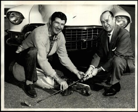 Duffy and his Cadillac dealer-sponsor in 1960 when he set out on the PGA tour.  Duffy is the eldest living member of the PGA.