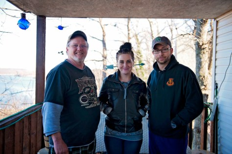 Our videographer, April Kirby (middle) with friends we met in Spavinaw, OK. The view from their back porch was just beautiful.