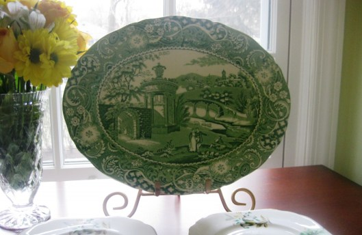 green staffordshire small platter