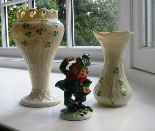beleek vases in bay window