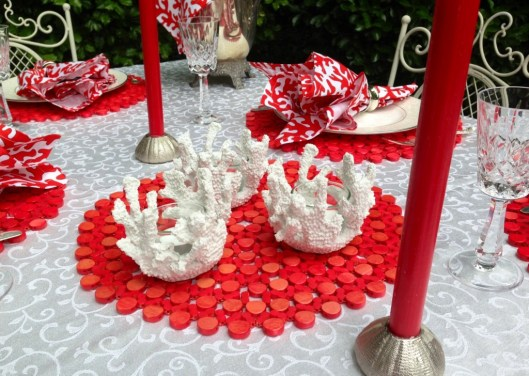coral votives close up