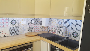 remodelling-kitchen-french-decor-dubai fit out , modern ikea kitchen with wooden counter in springs