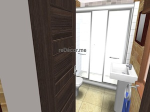 Old house bathroom interior design 3D proposal
