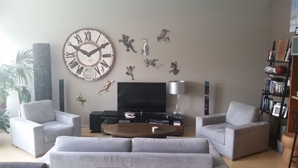 Living room decor, painted walls, grey sofa, lizards wall decor, Consultation Dubai