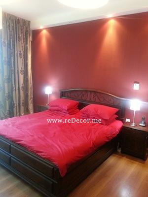 red bedroom interior decor