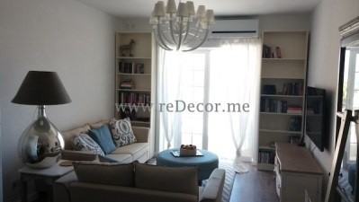 living room interior decor, french simple gorgeous style with grey, linen, light blue