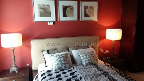 hotel style red and brown interior bedroom decor
