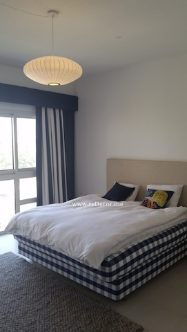Master bedroom with blue Hastens bed Dubai, Interior decor luxurious simple
