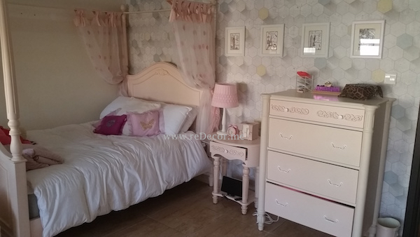 teen room with pink and grey, 3Dwallpaper