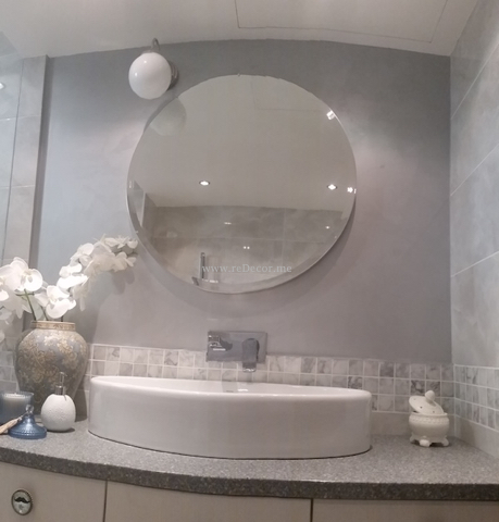 bathroom accessories, ceramic bathroom tiles Dubai, bathroom renovation Dubai interior decor and design, remodeling and design, grey marble bathroom, mosaic tiles, round mirror