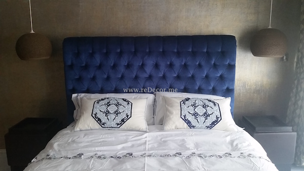 bedroom interior details, master bedroom remodeling, decor, interior. Blue bed, chic interior design Dubai, dressing table
