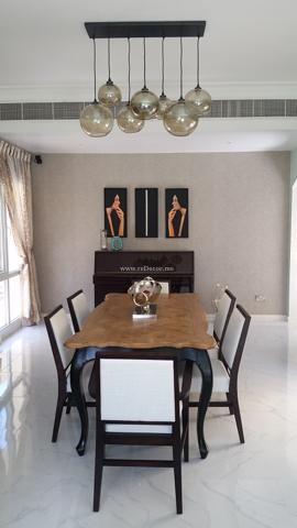 formal dining, classy chairs, french wooden table, mask decor, custom made curtains, custom made curtain, Formal dining area decor and design, piano, french style. Dubai interior consultation
