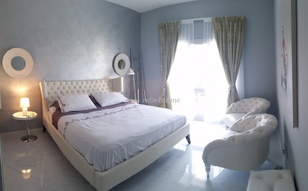 guest bedroom, jotun paint, white bed, marble flooring, Interior decor Dubai