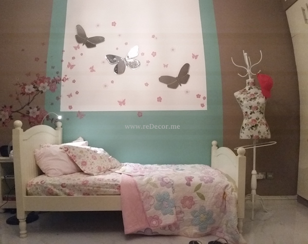 girlie bedroom, cherry blossom, green, brown, Dubai kids rooms decor and design