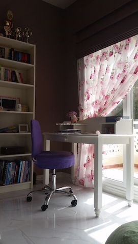 white desk with purple chair, unique dream catcher with fairy, pink, violet, flowers, special wall decor handmade jewelry hanger, special decor for kids, girls bedroom, brownish pink, turqoise, butterflies, flowers, pink , Dubai interior decor and design for kids, white furniture, pink, flower curtain