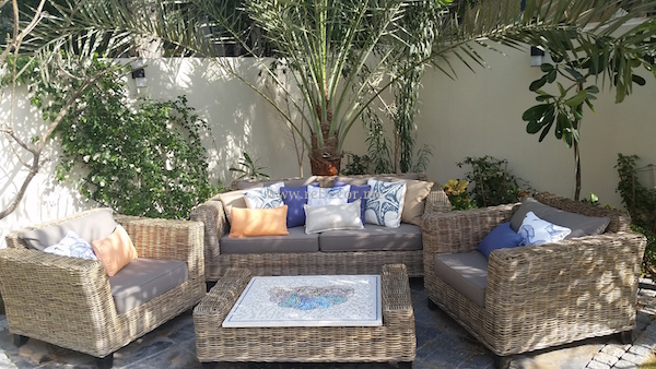 custom made cushions, outdoor furniture restoration, mosaic handmade table, Interior design Dubai