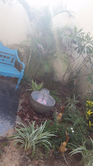 small garden fountain DYI, front garden design Dubai
