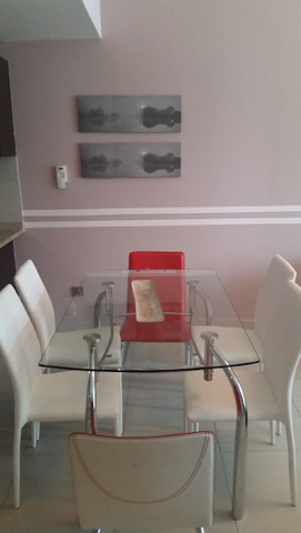 Interior decor, living room JLT, ARCH , Dubai interior design, glass dining table, red chairs