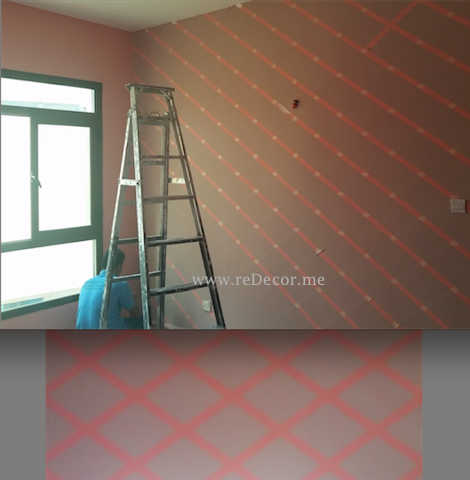 Jotun painting Dubai, stencil wall, cuztom design decor
