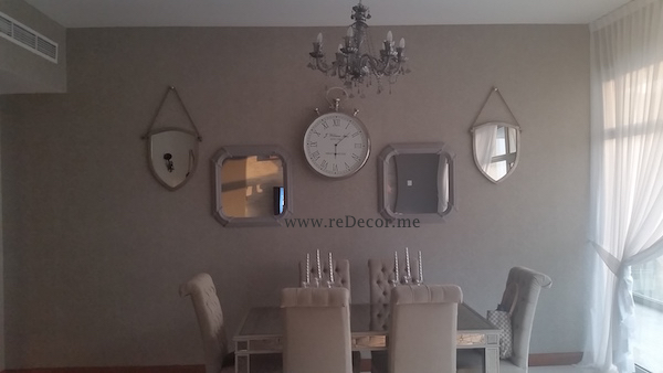 dining area decor, mirror wall, shabby chik, interior consultation, design