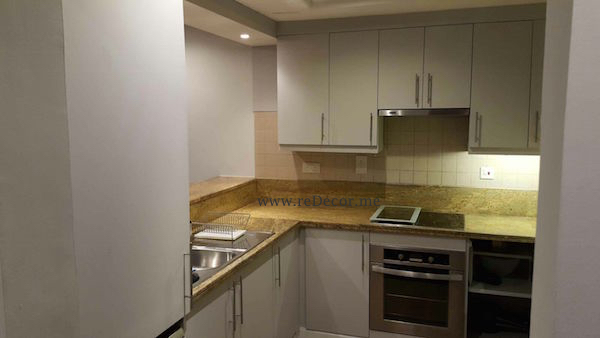 renovated kitchen in greens, dubai, design, colours, grey kitchen Dubai design