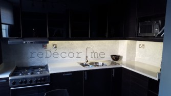 corian, black modern sharp kitchen, remodelling Dubai, design and decor by Erika Pace, consultation