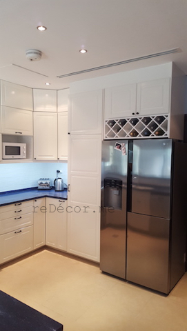 modern off white kitchen, remodelling, modern, white with blue counter, design dubai, custom made cabinets, consultation