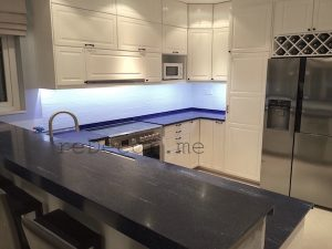 Furjan villas kitchen remodelling, before and after kitchen remodelling, off white with blue corian, Furjan villas, Dubai design and consultation
