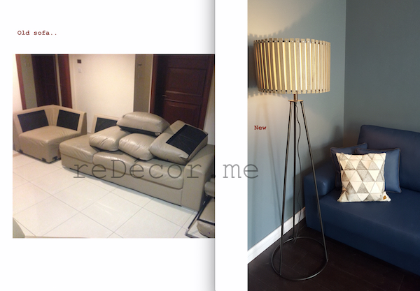 sofa upholstery, recycling, smart, sharp blue living room with wooden dar flooring, Interior design dubai